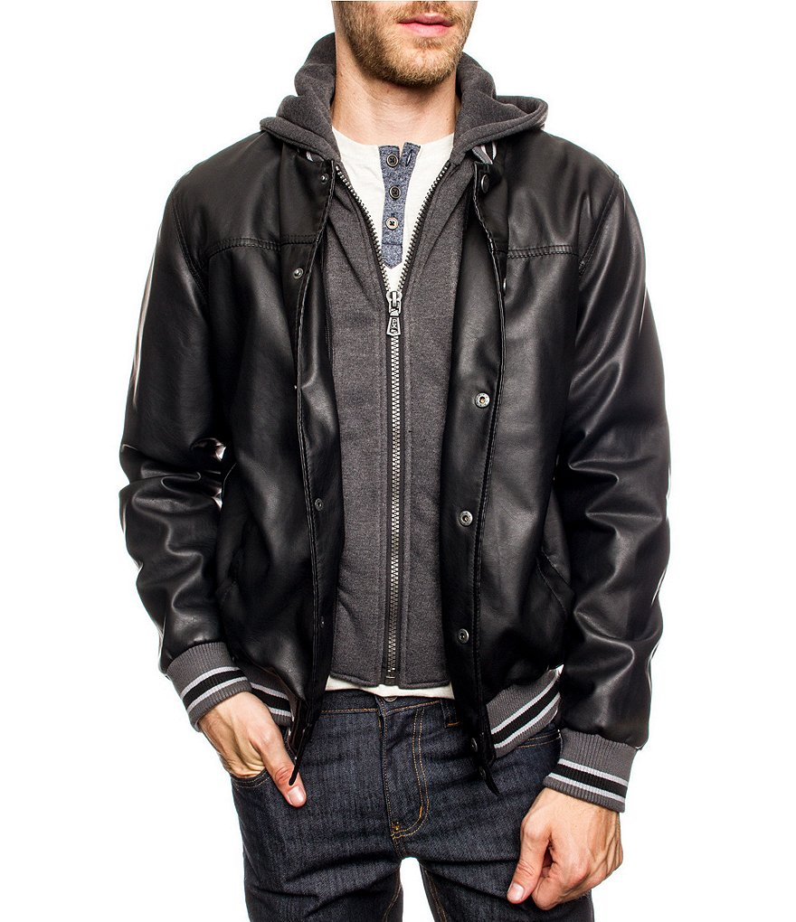 PX Clothing Hooded Faux-Leather Jacket