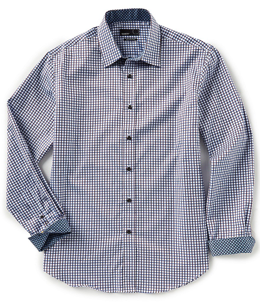 Quieti Modern-Fit Small Check Long-Sleeve Woven Shirt