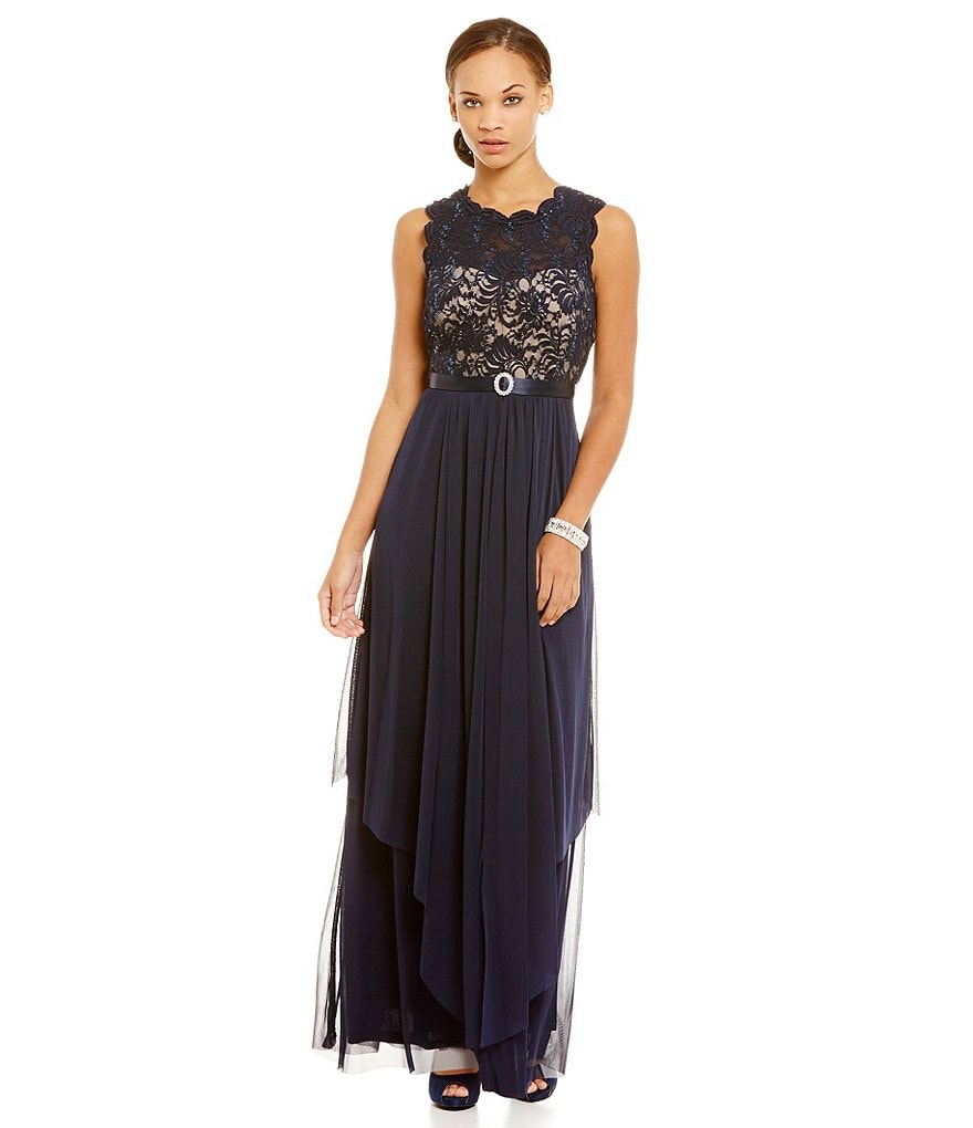 R & M Richards Belted Lace Chiffon A-line Gown