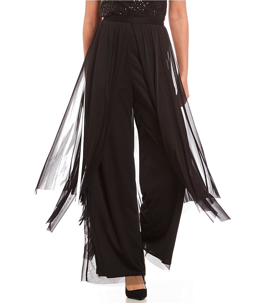 R & M Richards Mesh Wide-Leg Skirted Pant