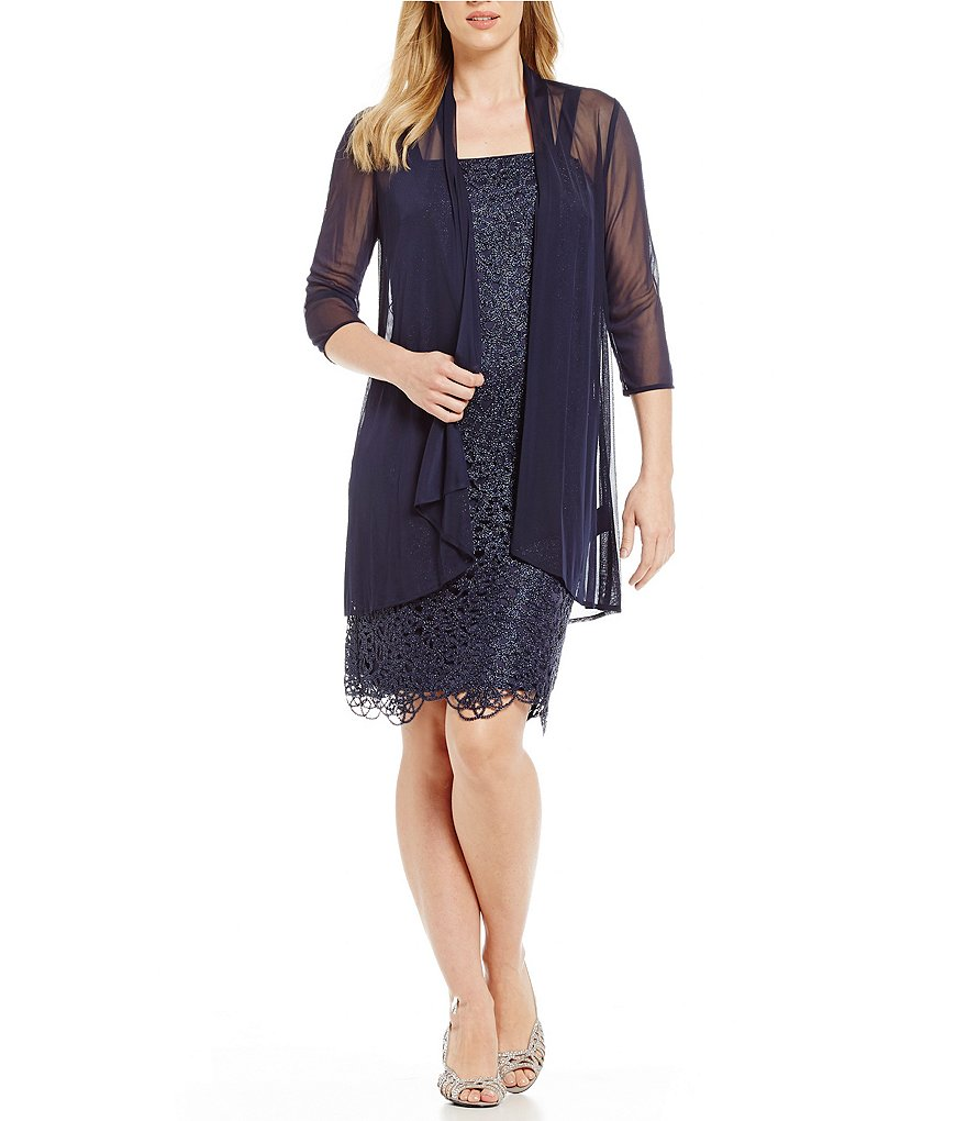 R & M Richards Petite Metallic Embroidered Lace Jacket Dress