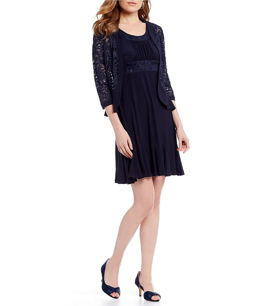 R & M Richards Petite Sequined Lace 2-Piece Jacket Dress