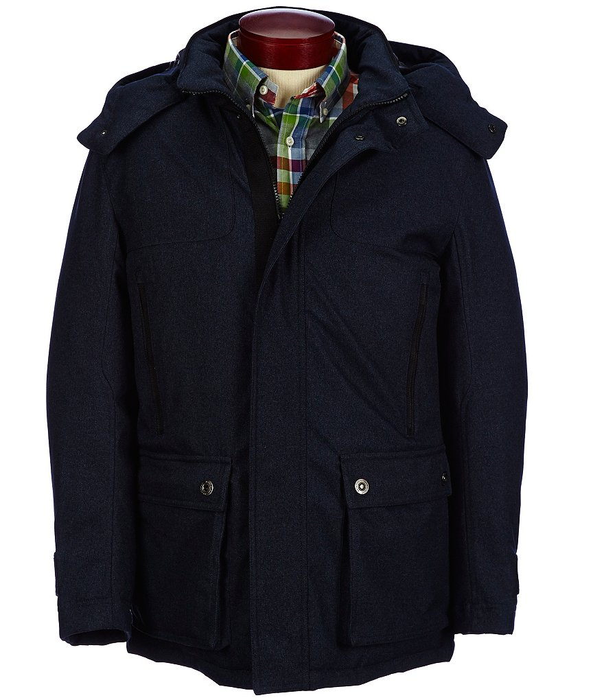 Rainforest Wool-Look Twill Hooded Hipster Jacket