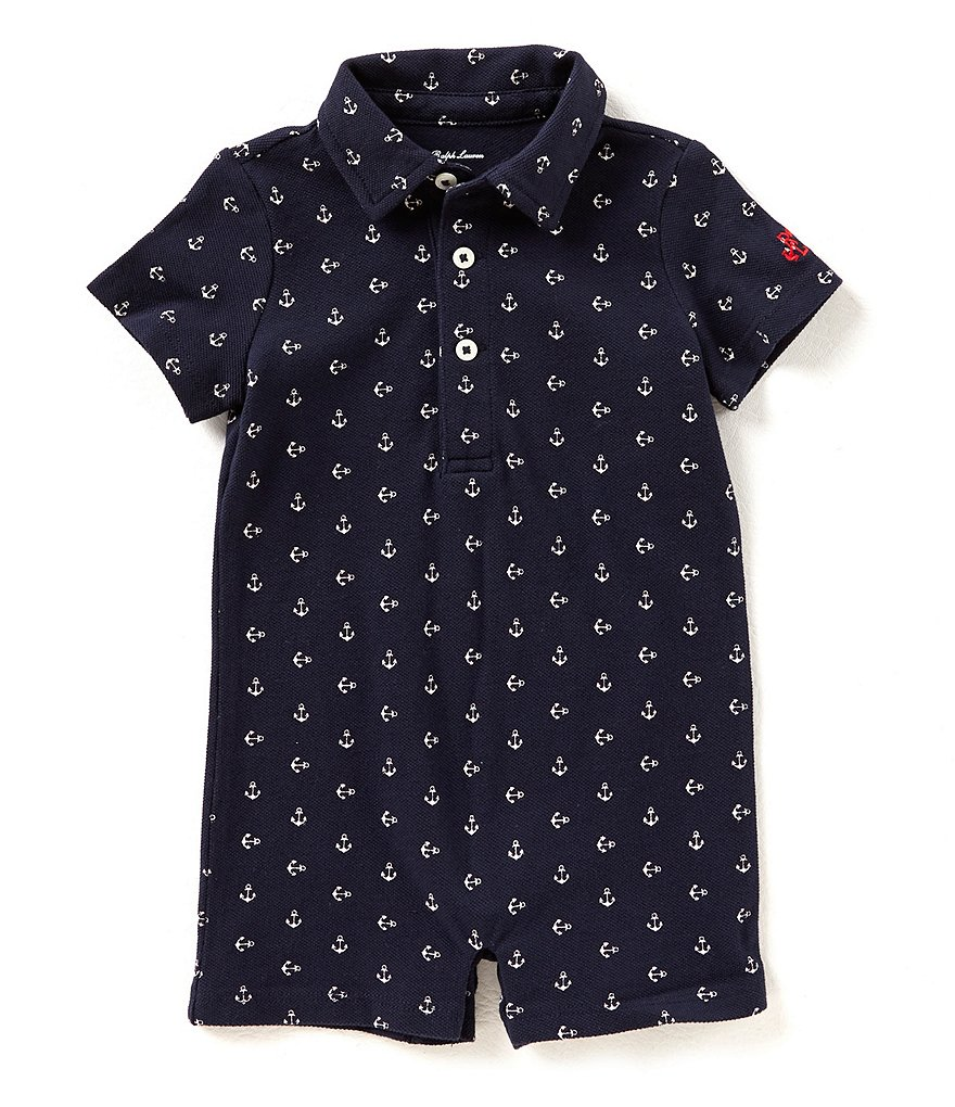 Ralph Lauren Childrenswear Baby Boys 3-12 Months Anchor-Printed Mesh Polo Shortall