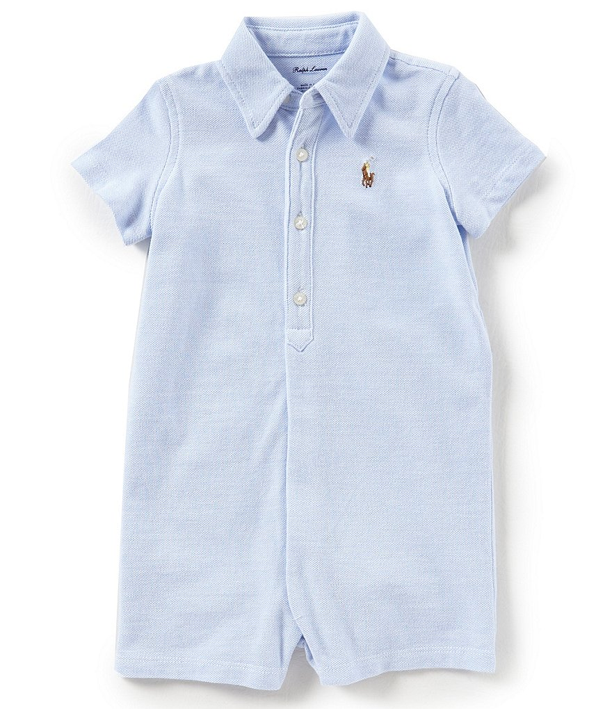 Ralph Lauren Childrenswear Baby Boys 3-12 Months Short-Sleeve Oxford-Knit Shortall