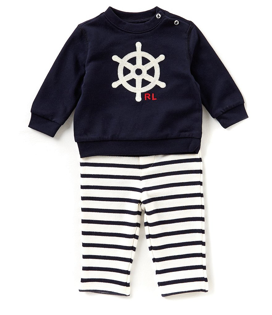 Ralph Lauren Childrenswear Baby Boys 3-24 Months Graphic Sweatshirt & Striped Pant Set