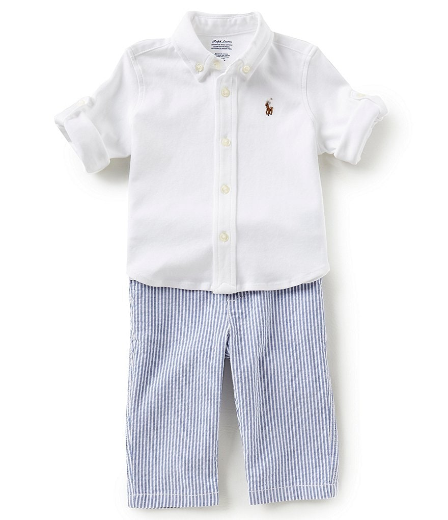 Ralph Lauren Childrenswear Baby Boys 3-24 Months Long-Sleeve Oxford Shirt & Seersucker Pants Set