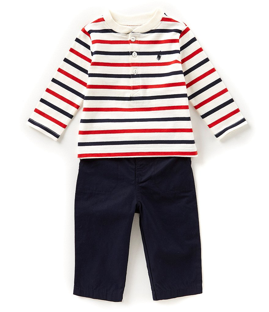 Ralph Lauren Childrenswear Baby Boys 3-24 Months Striped Henley Tee & Pant Set