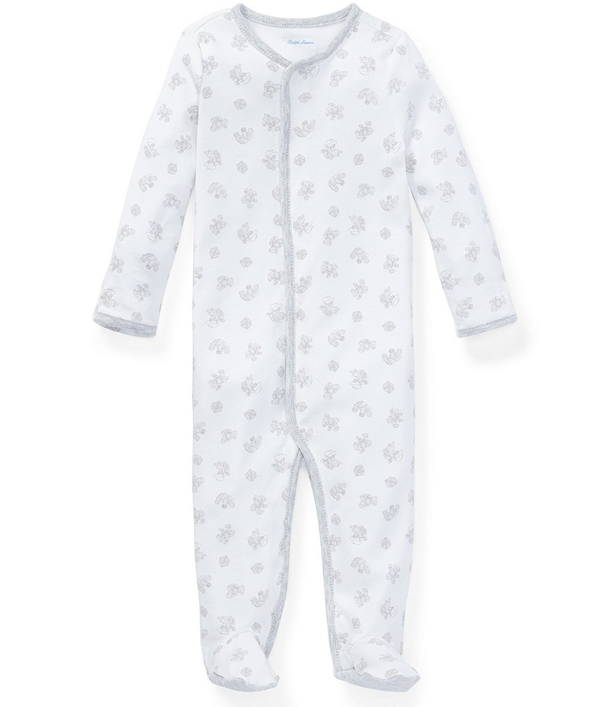 Ralph Lauren Childrenswear Baby Boys Newborn-9 Months Long-Sleeve Printed Footed Coverall