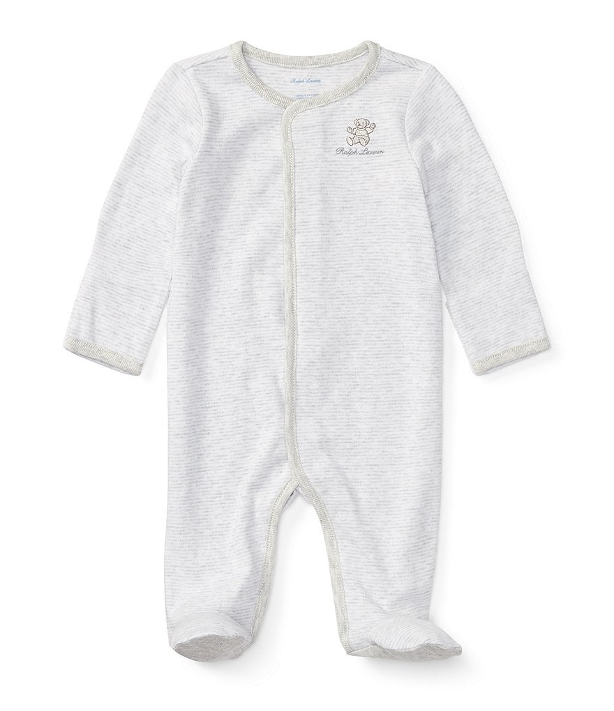 Ralph Lauren Childrenswear Baby Boys Newborn-9 Months Long-Sleeve Striped Footed Coverall