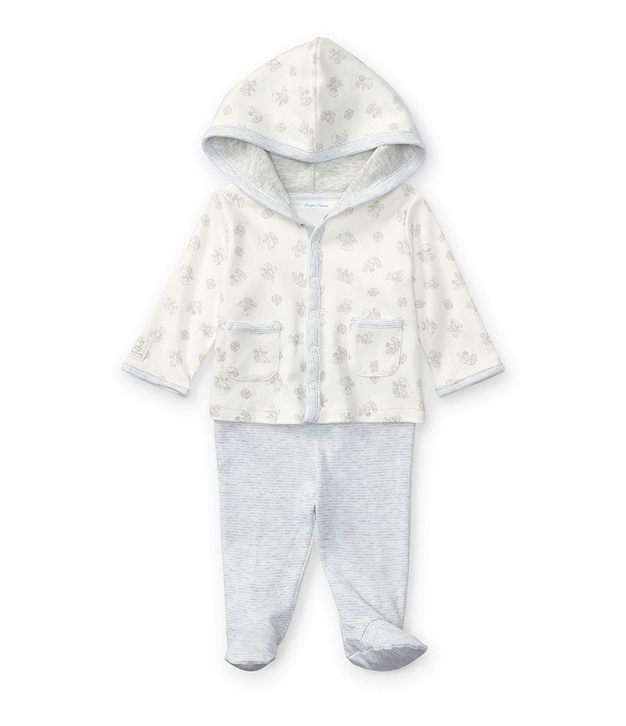 Ralph Lauren Childrenswear Baby Boys Newborn-9 Months Mixed-Media Hoodie & Striped Footed Pant Set