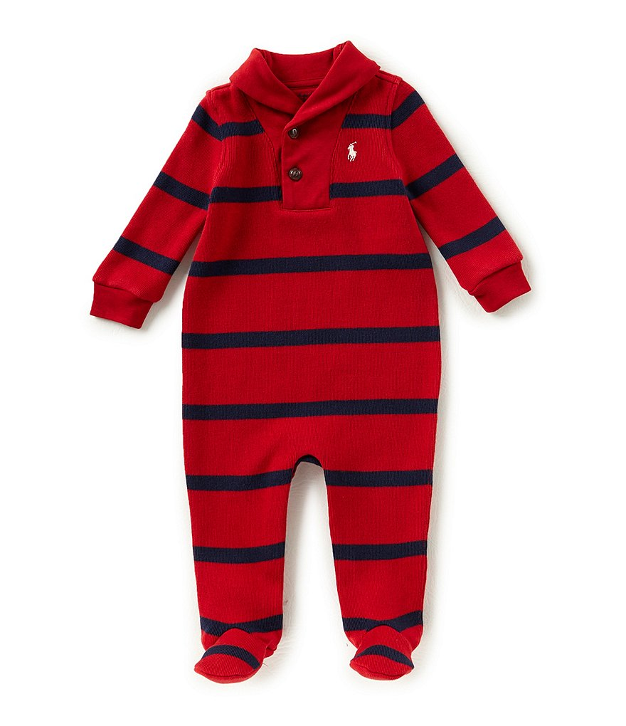 Ralph Lauren Childrenswear Baby Boys Newborn-9 Months Striped French-Rib Footed Coverall