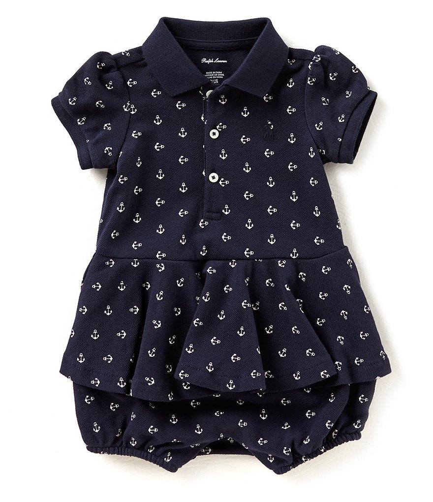 Ralph Lauren Childrenswear Baby Girls 3-24 Months Anchor-Print Romper