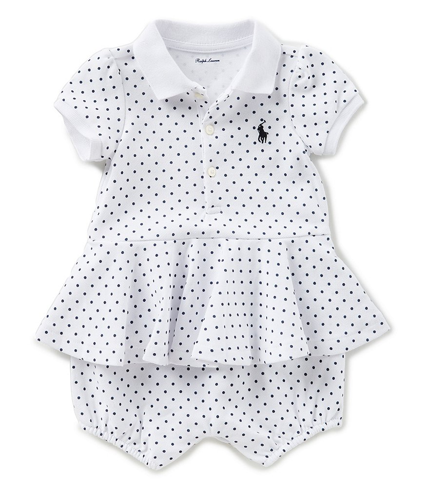 Ralph Lauren Childrenswear Baby Girls 3-24 Months Dotted Peplum-Hem Romper