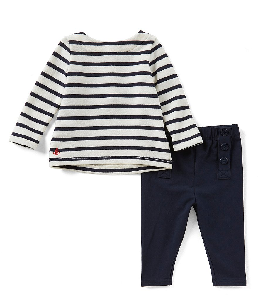 Ralph Lauren Childrenswear Baby Girls 3-24 Months Nautical-Stripe Top & Solid Pant Set