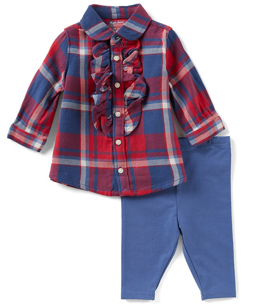 Ralph Lauren Childrenswear Baby Girls 3-24 Months Plaid Top & Solid Leggings Set