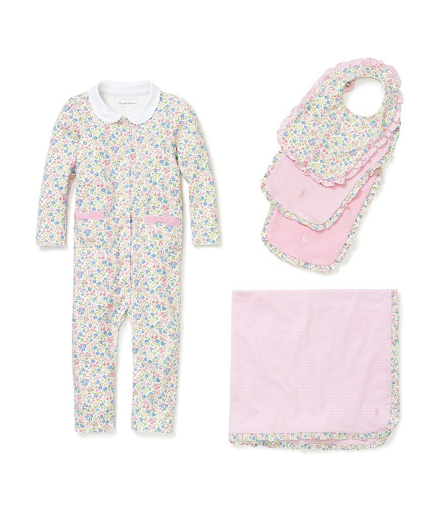 Ralph Lauren Childrenswear Baby Girls Newborn-12 Months Coverall, Blanket & Bib Layette Collection