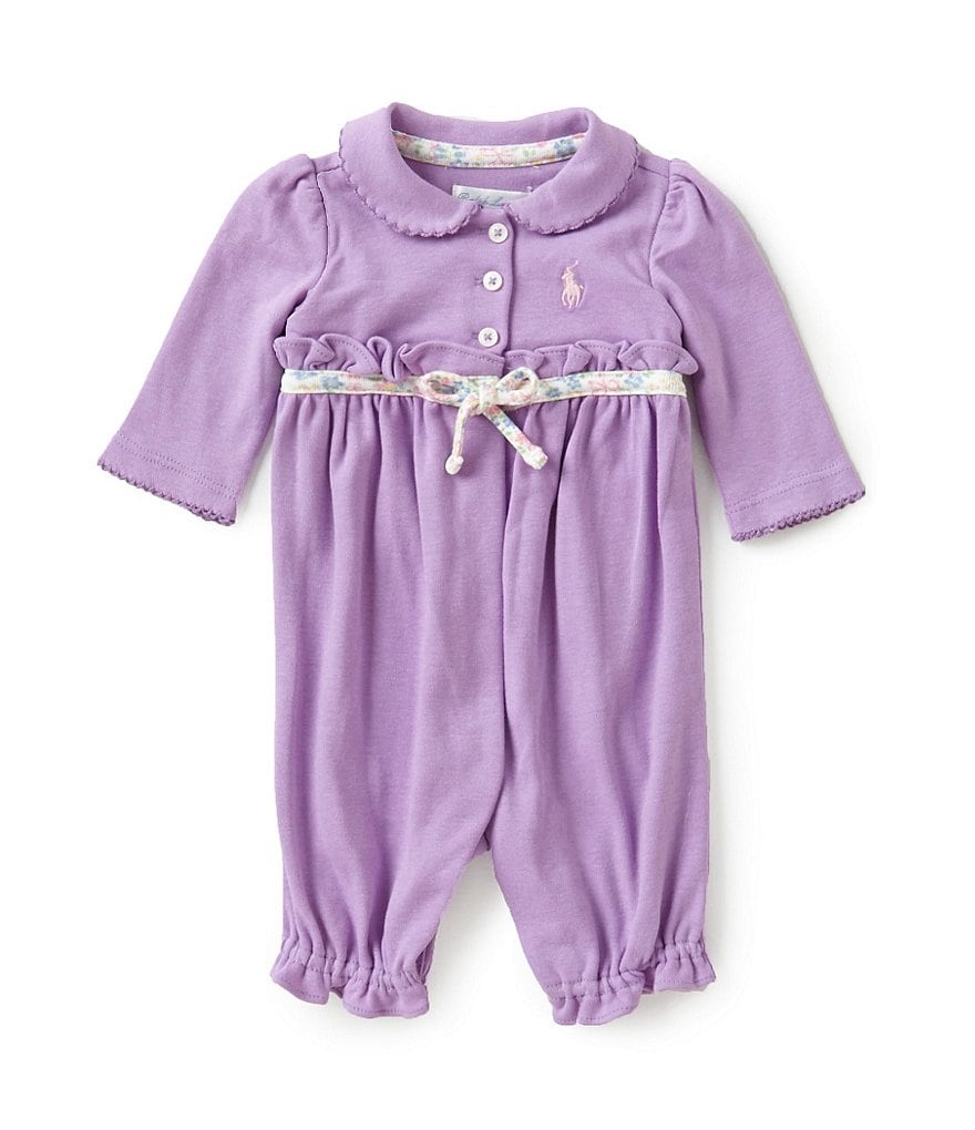 Ralph Lauren Childrenswear Baby Girls Newborn-12 Months Ruffle Trimmed Coverall