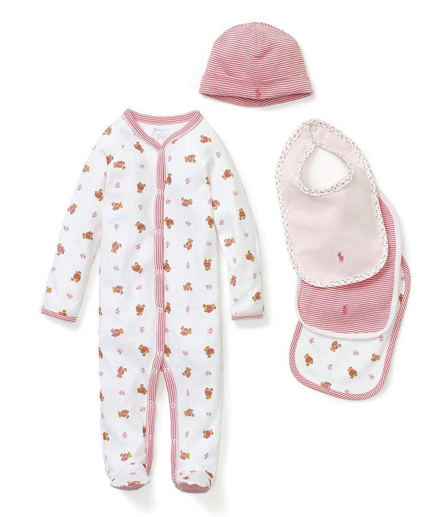 Ralph Lauren Childrenswear Baby Girls Newborn Footed Coverall, Bib   Hat  Layette Collection 0035b39b31b