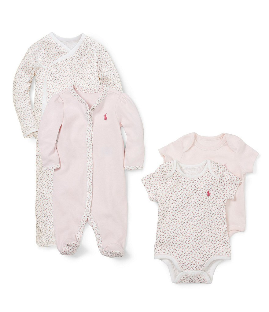 Ralph Lauren Childrenswear Baby Girls Newborn Printed Kimono Set, Coverall, & Bodysuit Layette Collection