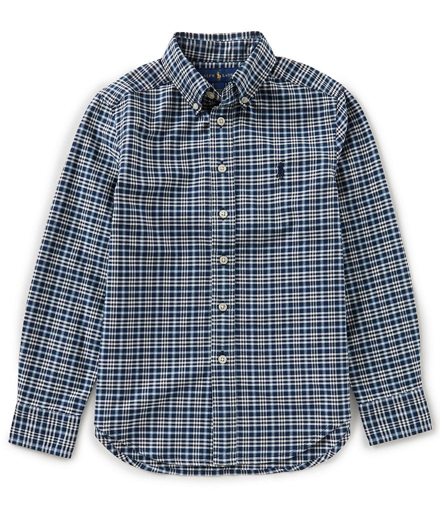 Ralph Lauren Childrenswear Big Boys 8-20 Long-Sleeve Plaid Oxford Shirt