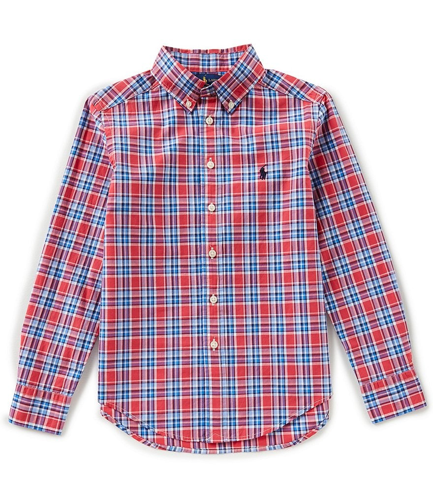 Ralph Lauren Childrenswear Big Boys 8-20 Long-Sleeve Window Plaid Poplin Shirt