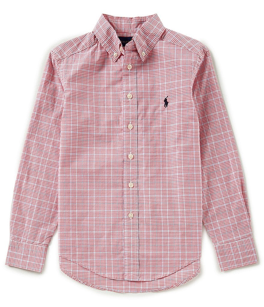 Ralph Lauren Childrenswear Big Boys 8-20 Long-Sleeve Poplin Check Shirt