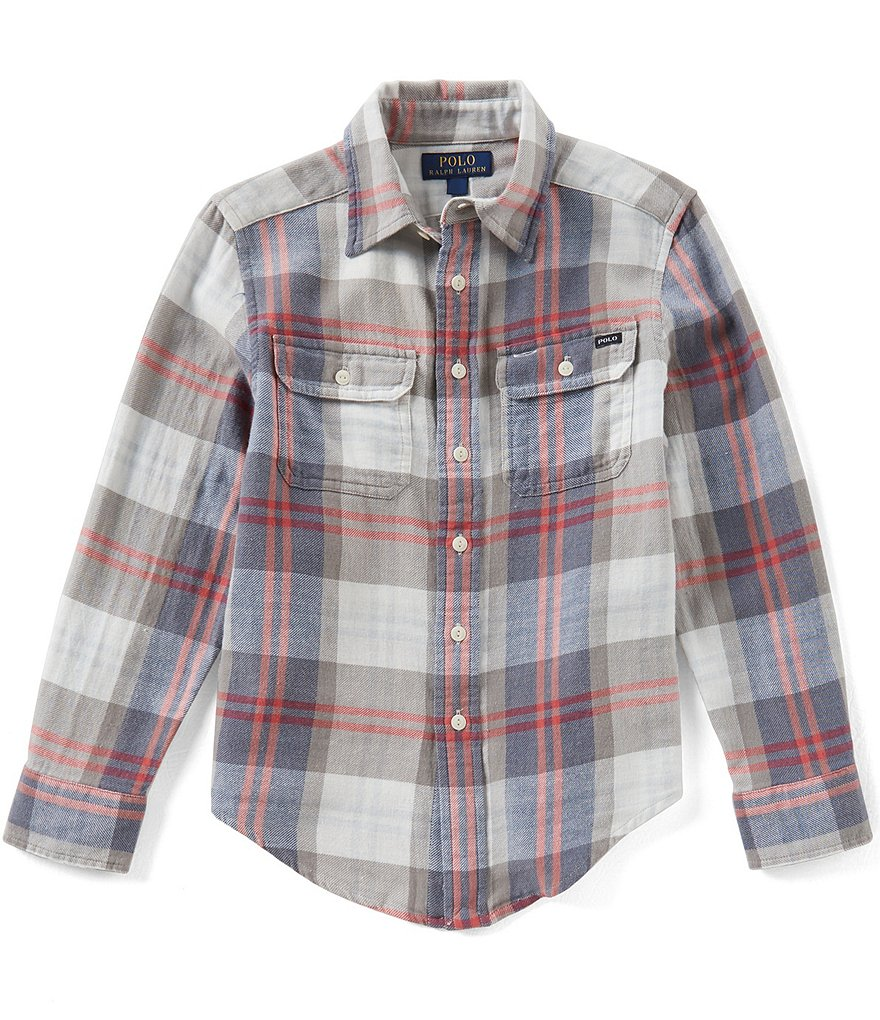 Ralph Lauren Childrenswear Big Boys 8-20 Long-Sleeve Plaid Twill Workshirt