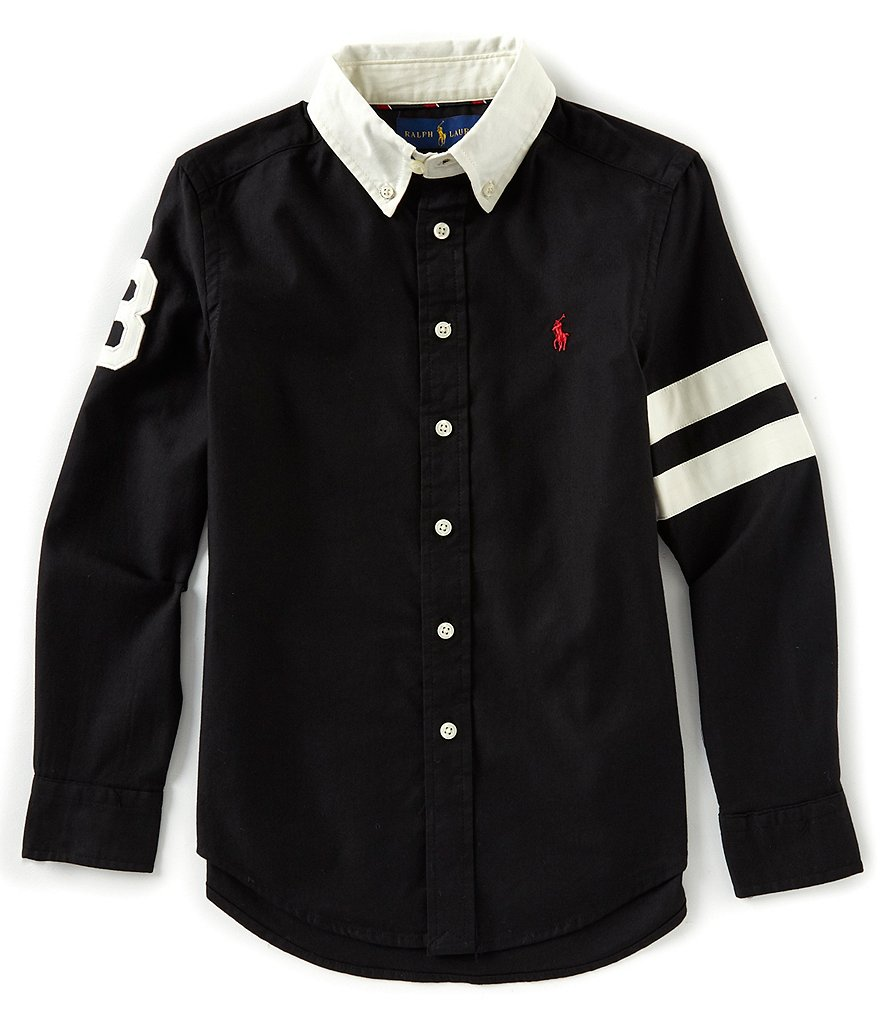 Ralph Lauren Childrenswear Big Boys 8-20 Long Sleeve Striped Performance Oxford Shirt