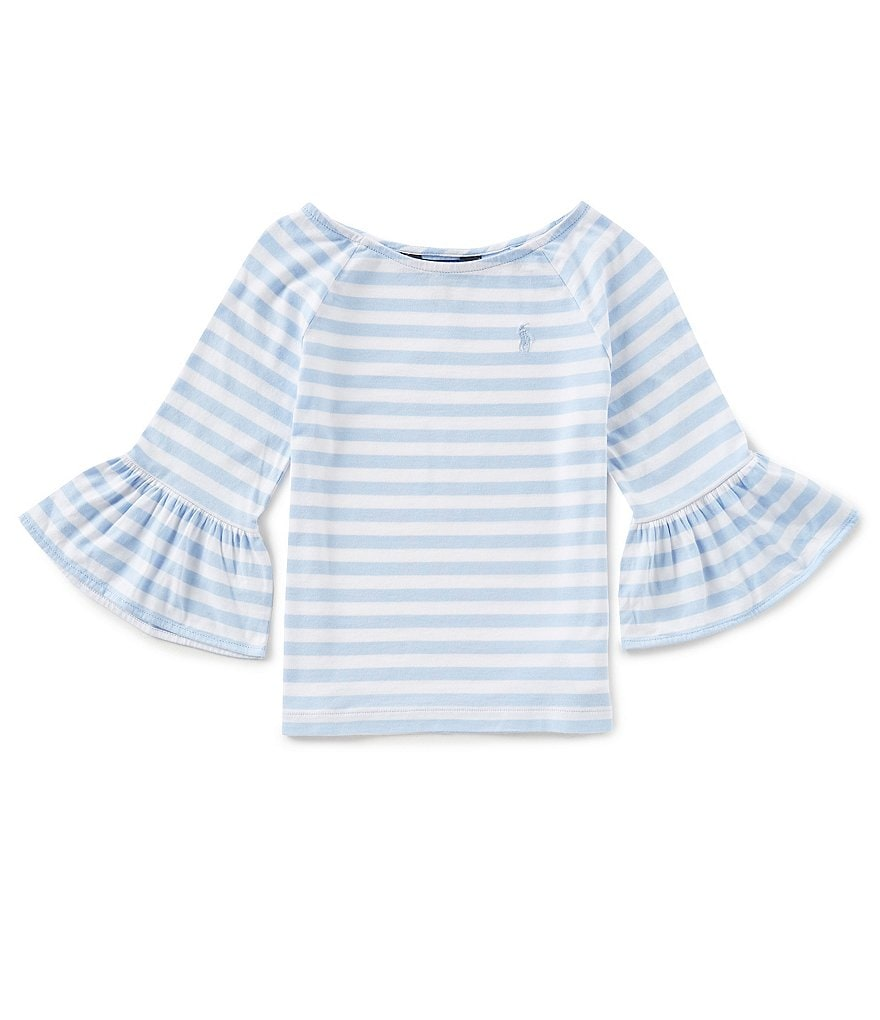 Ralph Lauren Childrenswear Big Girls 7-16 Bell-Sleeve Striped Jersey Top