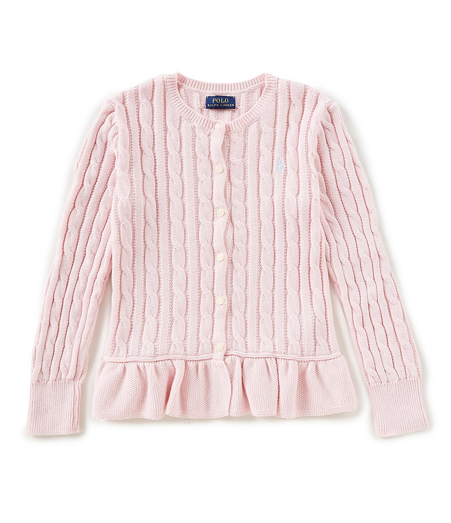 Ralph Lauren Childrenswear Big Girls 7-16 Cable-Knit Peplum Cardigan