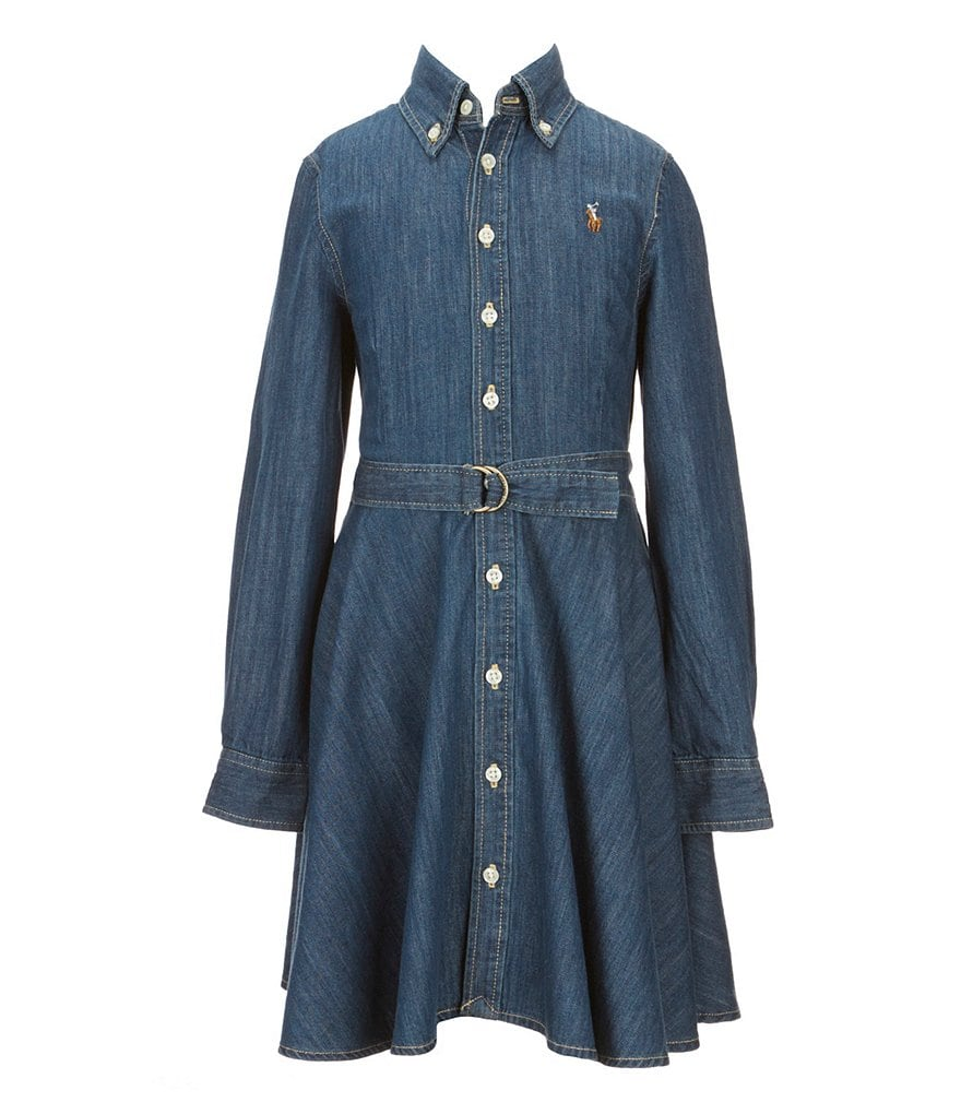 Ralph Lauren Childrenswear Big Girls 7-16 Denim Belted Shirt Dress