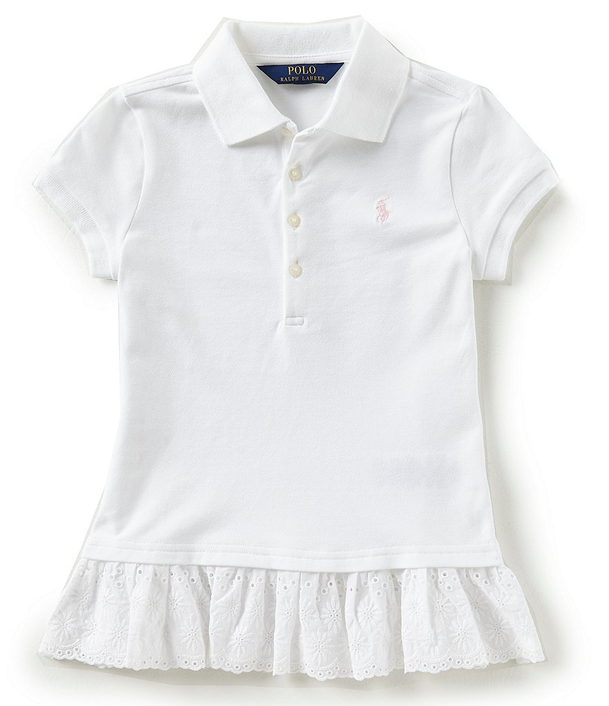 Ralph Lauren Childrenswear Big Girls 7-16 Eyelet-Hem Mesh Polo Shirt