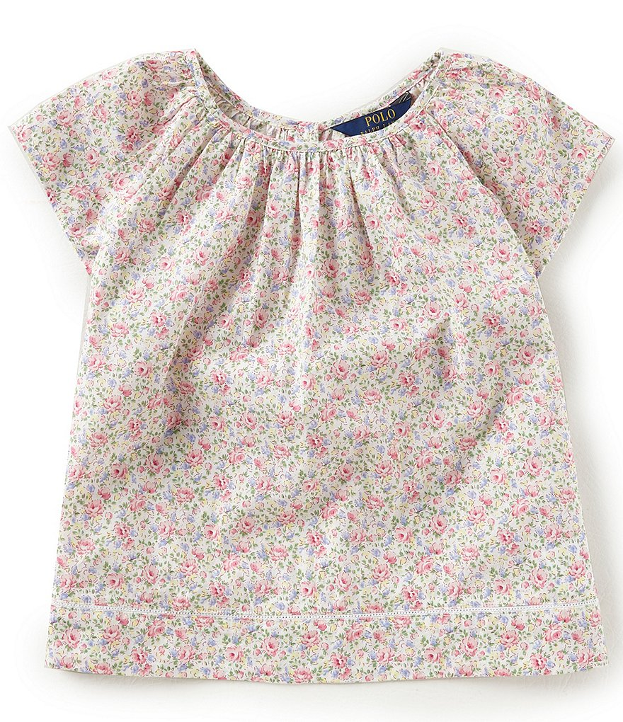 Ralph Lauren Childrenswear Big Girls 7-16 Floral Flutter Sleeve Top