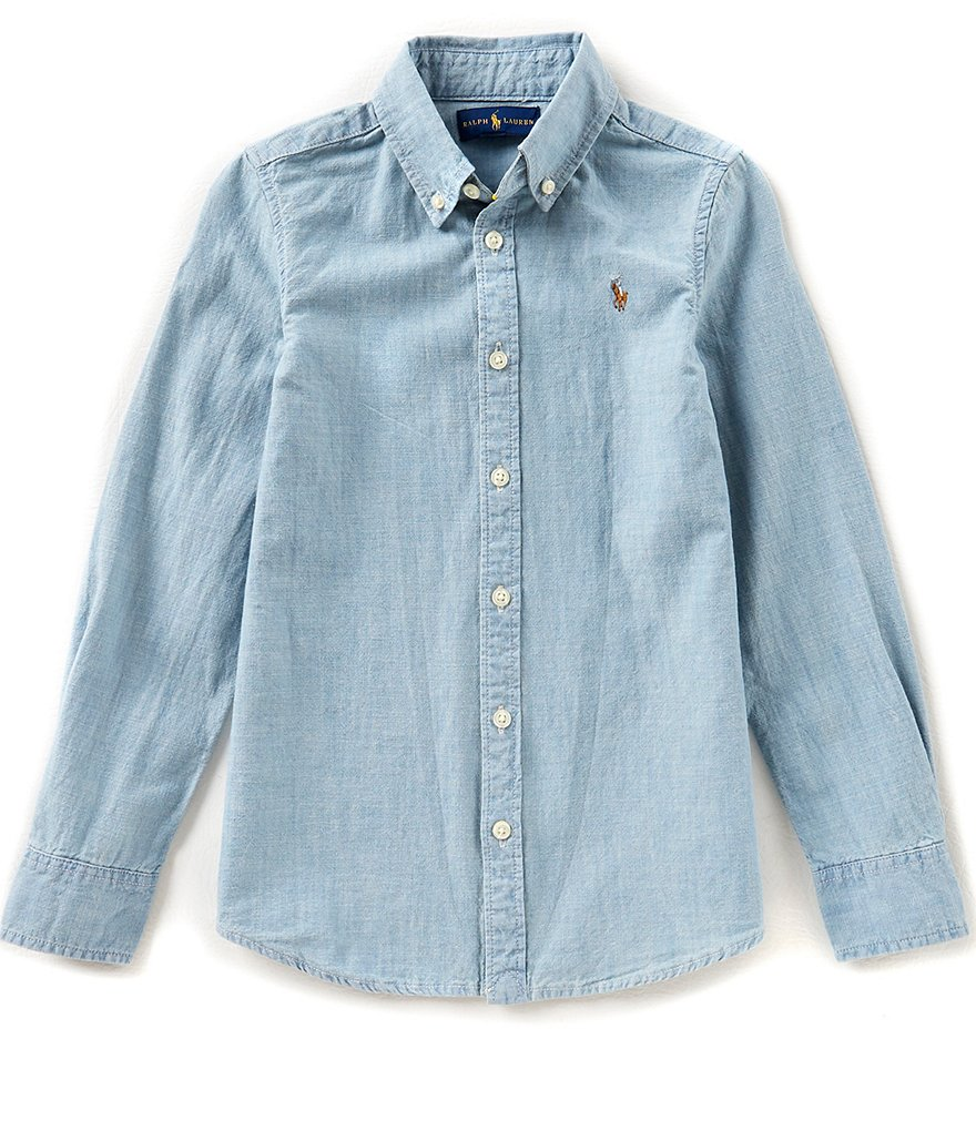Ralph Lauren Childrenswear Big Girls 7-16 Long-Sleeve Chambray Shirt