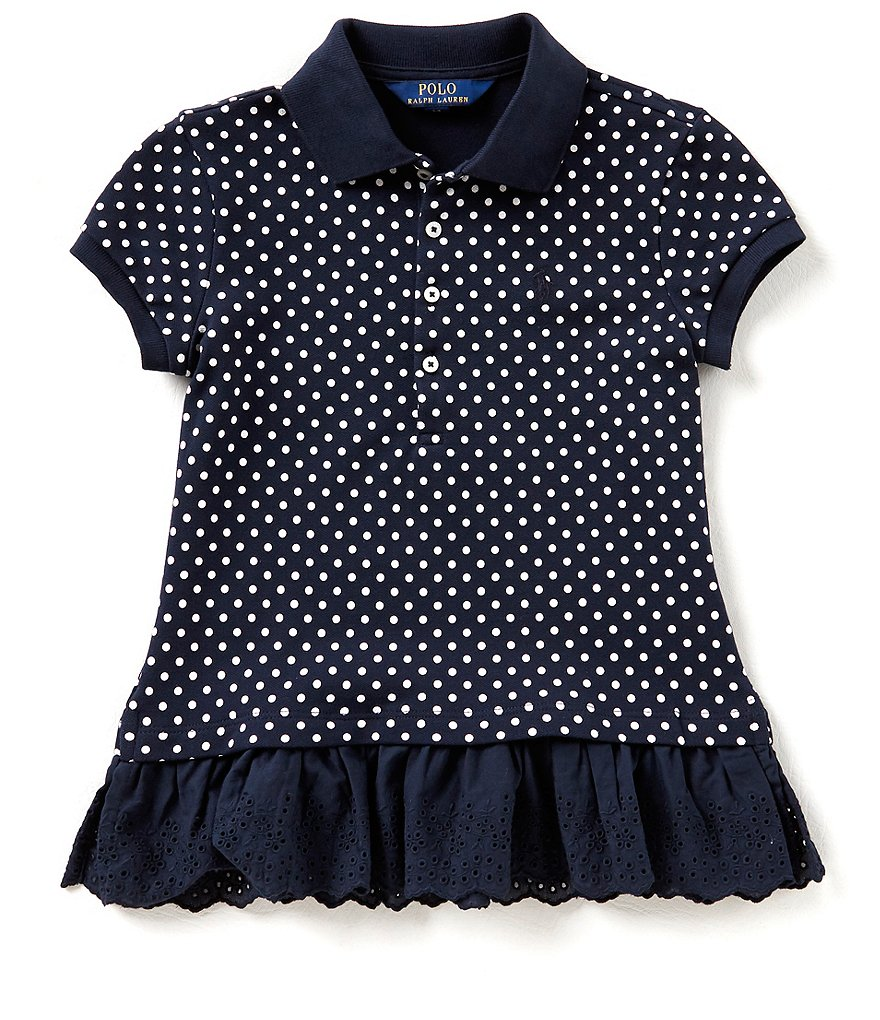 Ralph Lauren Childrenswear Big Girls 7-16 Printed/Solid Peplum-Hem Polo Shirt