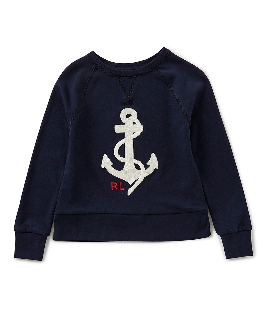 Ralph Lauren Childrenswear Big Girls 7-16 Raglan-Sleeve Anchor-Embroidered Tee