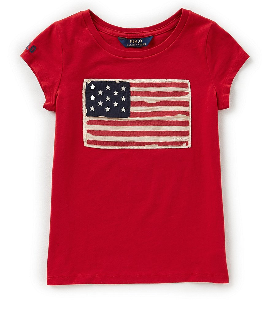 Ralph Lauren Childrenswear Big Girls 7-16 Short-Sleeve Flag Tee