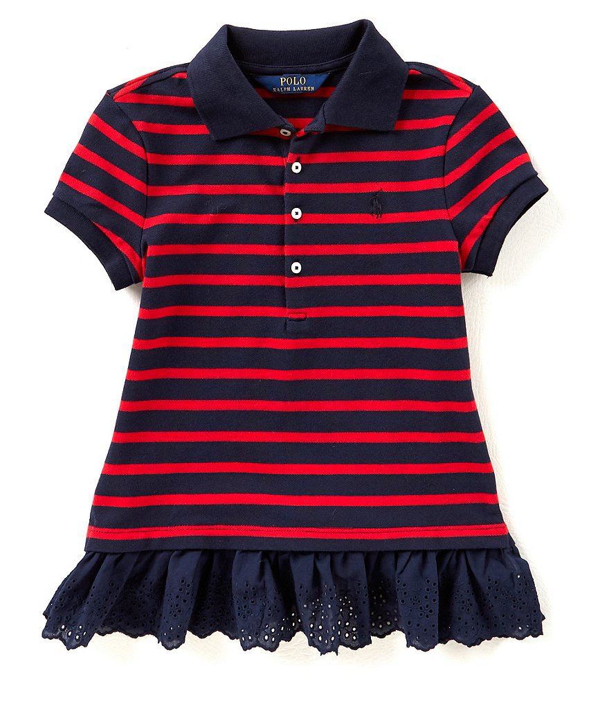Ralph Lauren Childrenswear Big Girls 7-16 Striped Mesh Peplum Polo Shirt