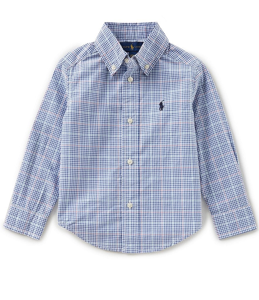 Ralph Lauren Childrenswear Little Boys 2T-7 Long-Sleeve Plaid Poplin Shirt