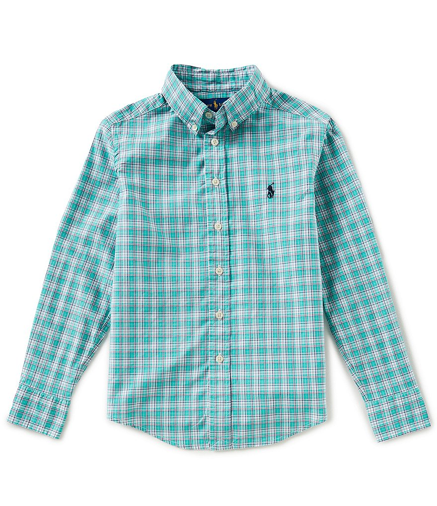 Ralph Lauren Childrenswear Little Boys 5-7 Button-Down Long-Sleeve Plaid Poplin Shirt