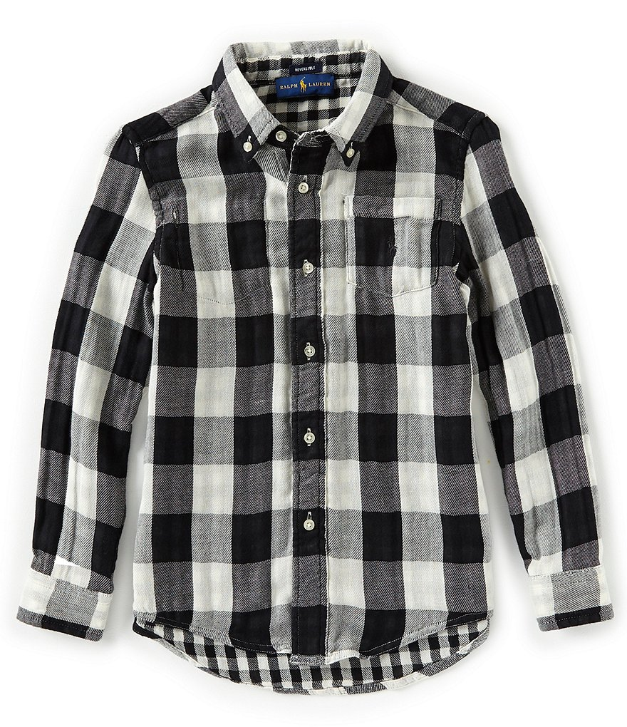 Ralph Lauren Childrenswear Little Boys 5-7 Long Sleeve Reversible Plaid Shirt