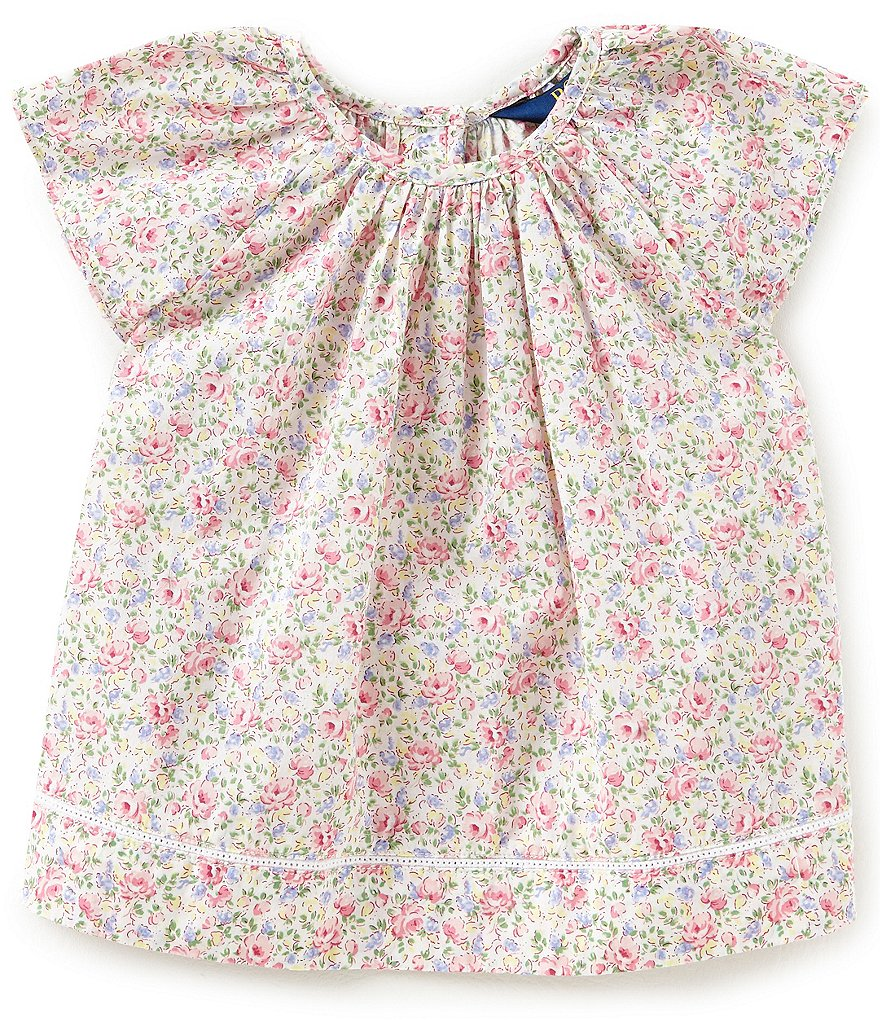 Ralph Lauren Childrenswear Little Girls 2T-6X Flutter-Sleeve Floral-Print Top