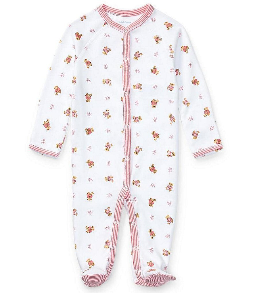 Ralph Lauren Childrenswear Baby Girls Newborn Bear Printed Footed Coverall