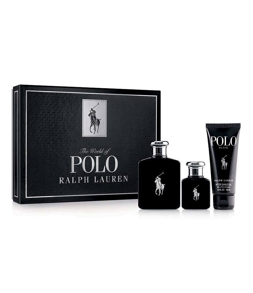 Ralph Lauren Men's Three Piece Polo Black Gift Set