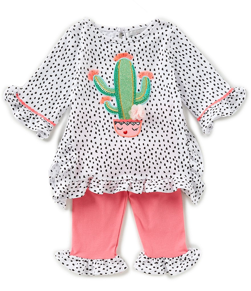 Rare Editions Baby Girls 12-24 Months Cactus Applique Dotted Top & Solid Capri Leggings Set