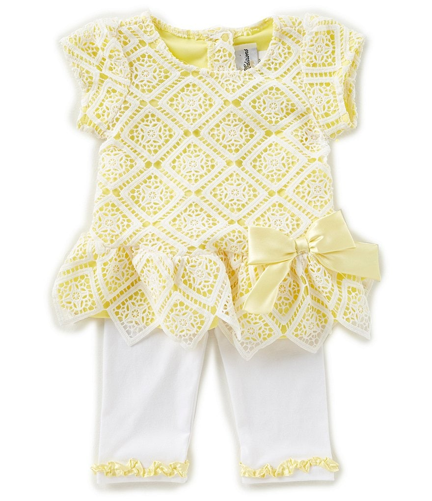 Rare Editions Baby Girls 12-24 Months Diamond-Pattern Lace Top & Solid Leggings Set