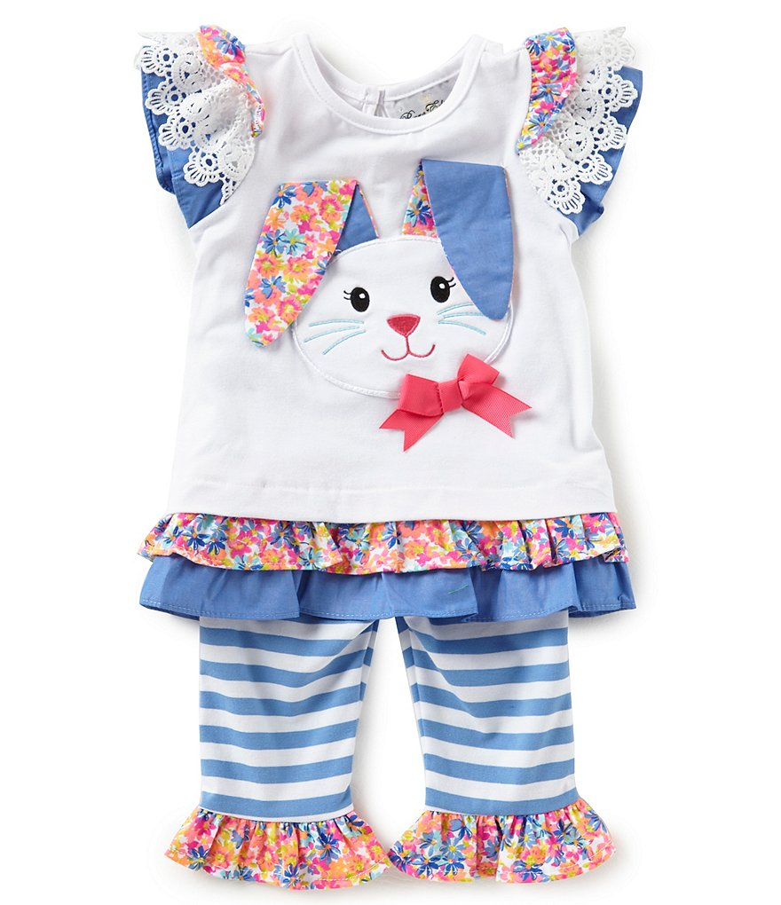 Rare Editions Baby Girls 12-24 Months Easter Bunny Tee & Striped Leggings Set