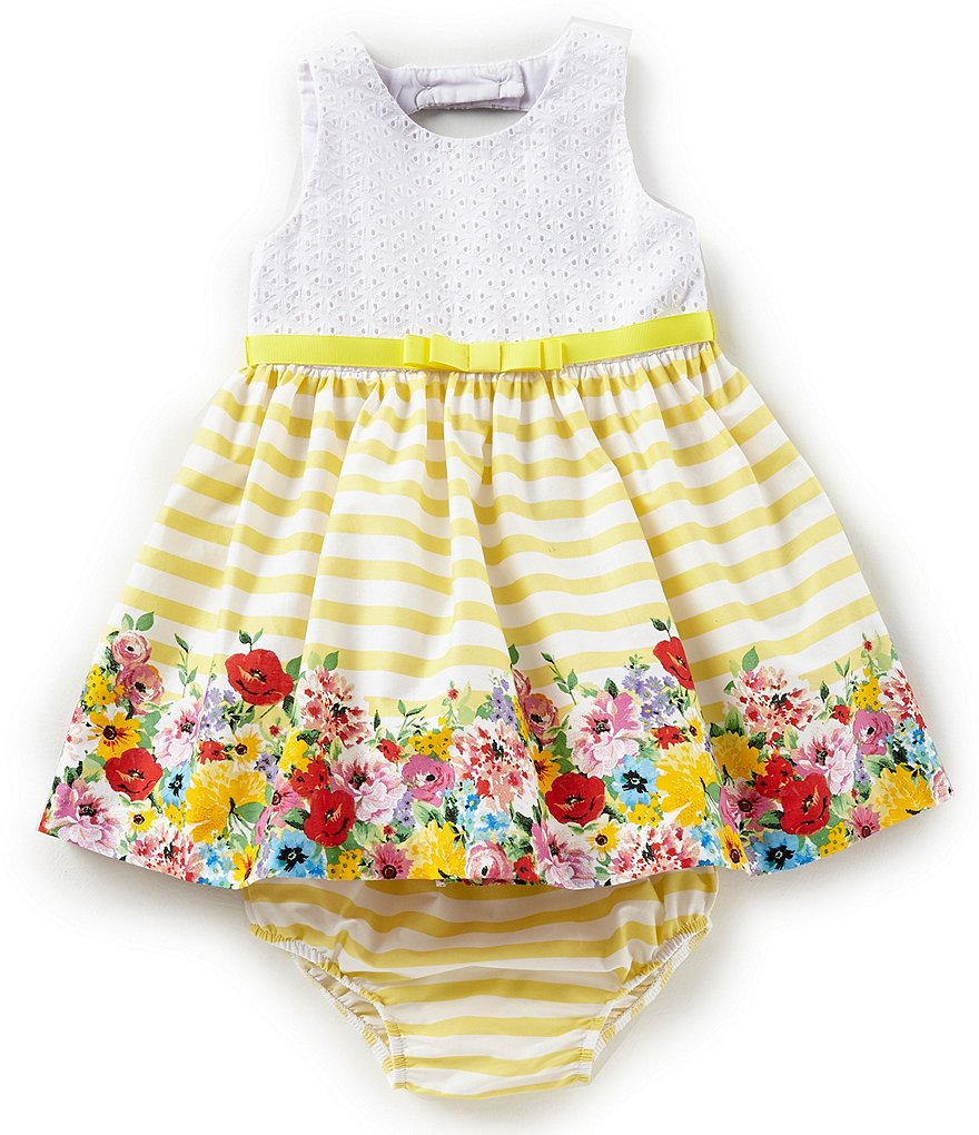 Rare Editions Baby Girls 12-24 Months Eyelet Striped/Floral Dress