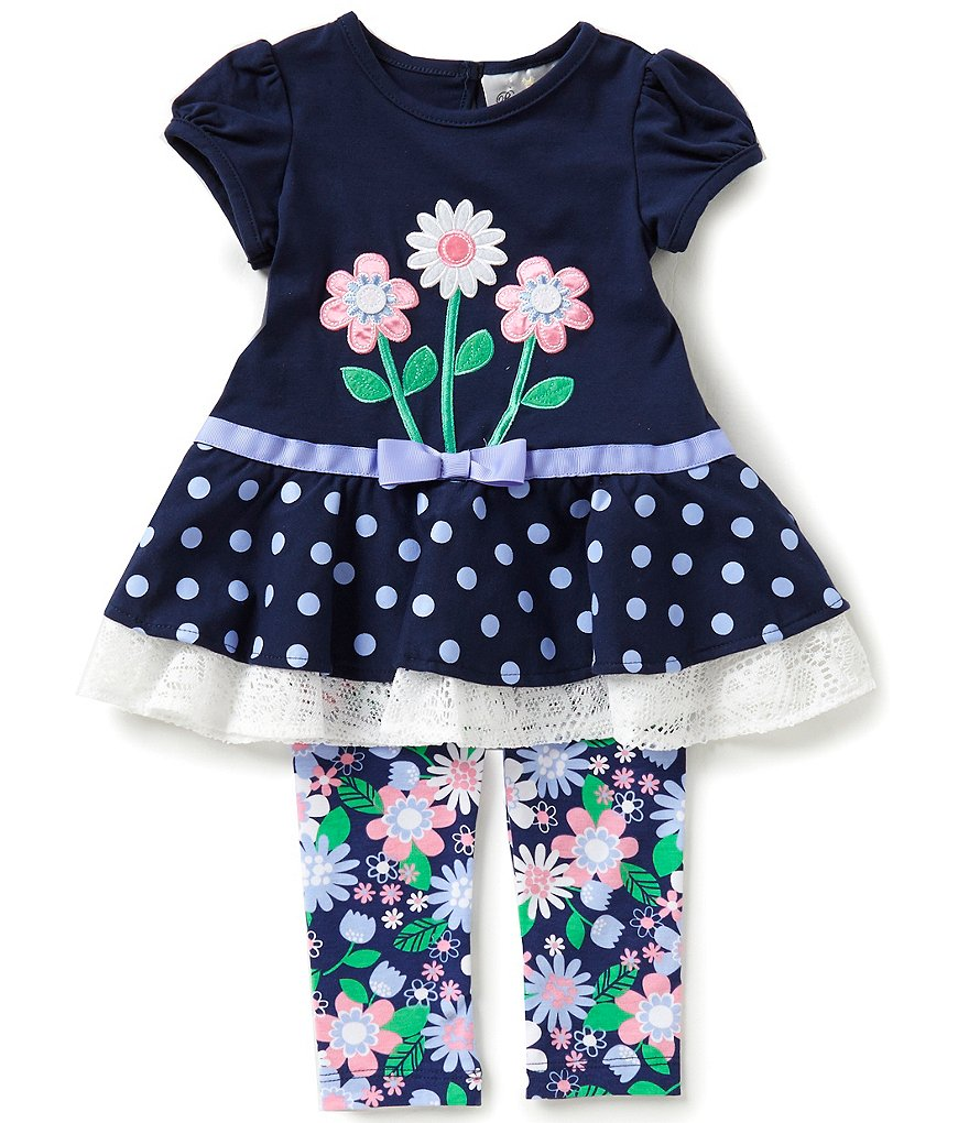 Rare Editions Baby Girls 12-24 Months Flower-Appliquéd Dress and Flower-Printed Leggings Set